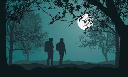 Illustration der Landschaft mit Wald, Bäumen und Hügeln, unter nachtgrünem Himmel mit Vollmond und Platz für Text. Zwei Personen, Tourist mit Rucksack. Mann und Frau - Vektor
