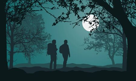 Illustration of landscape with forest, trees and hills, under night green sky with full moon and space for text. Two people, tourist with backpack. Man and woman - vector
