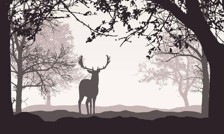 Realistische Darstellung der Landschaft mit Wald, Bäumen und Hügeln, unter Retro-Farbhimmel mit Platz für Text. Stehender Hirsch - Vektor