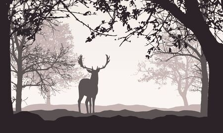 Realistic illustration of landscape with forest, trees and hills, under retro color sky with space for text. Standing deer - vector