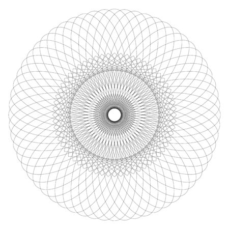 Geometric Abstract Spirograph Patterns Isolated on White Background. Symmetrical shapes suitable as a watermark. Round and spiral twisted circular ornament - vector Banque d'images - 125369309