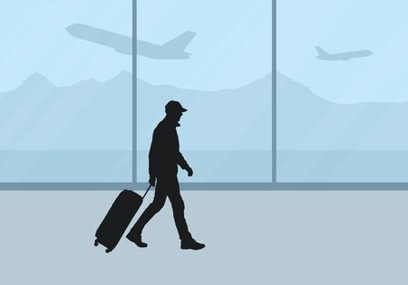 Realistic illustration of airport lounge with window and airplane on background. Man tourist with suitcase goes and waits for flight - vector Banque d'images - 126120336