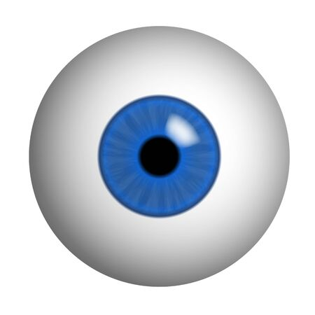 Realistic illustration of human eye with blue iris, pupil and reflection. Isolated on white background - vector Banque d'images - 127503774