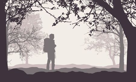 Realistic illustration of a man tourist with a backpack. Standing in forest among trees with branches under retro sky - vector