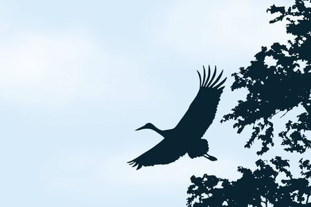 Realistic illustration of blue sky with white clouds and space for text. Flying stork - vector Banque d'images - 128433678