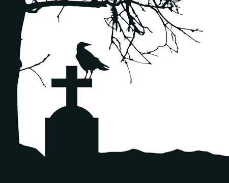 Realistic illustration of a tombstone in a cemetery with a sitting raven and a dry dead tree. Isolated on white background, with space for text - vector