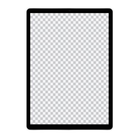 Illustration of tablet or mobile phone with blank screen and black frame. With space for text - vector