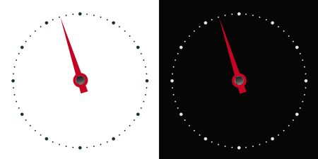 Illustration of white and black circular dial of measuring instrument with red hand in arrow shape - vector Ilustrace