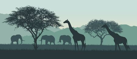 Realistic illustration of African landscape and safari. Elephant with giraffe on savanna among trees on clear summer day under green sky - vector
