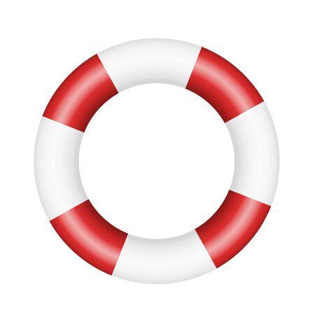 Realistische afbeelding van reddingsboei. Rode en witte cirkel geïsoleerd op een witte achtergrond - vector