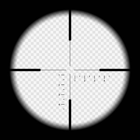 Realistic illustration looking through sniper crosshair with measuring numbers and markers. Optical sight rifle on transparent background - vector Ilustrace