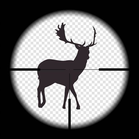 Realistic illustration View of a deer in the wild or in nature looking at a hunting rifle with an intentional cross. hunt wildlife - vector