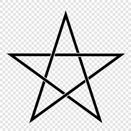 Illustration of a Pentagram, a five-pointed star. Esoteric or magic symbol of Occultism and Witchcraft. Isolated on transparent background - vector Ilustrace