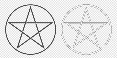 Illustration of a Pentagram, a five-pointed star in a circle. Esoteric or magic symbol of Occultism and Witchcraft. Isolated on transparent background - vector
