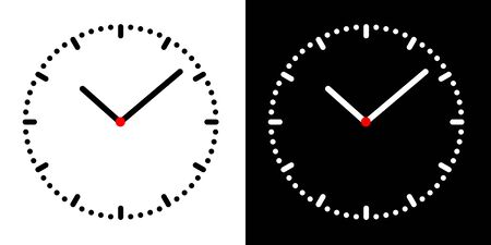 Set Illustration of simple clock face with black and white dial, minute and hour hand and red center - vector