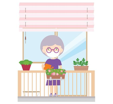 Illustration of a female pensioner or senior on a balcony with a protective mask or veil on her face. Cultivated and watered flowers and herbs - vector Ilustração Vetorial