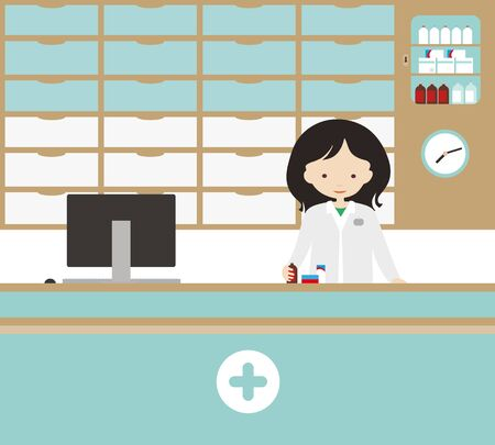 Cartoon illustration of a saleswoman or doctor in a pharmacy with drawers and showcases for medicines and tablets. Simple clock on the wall, computer with cash register on the counter. Green and white vector