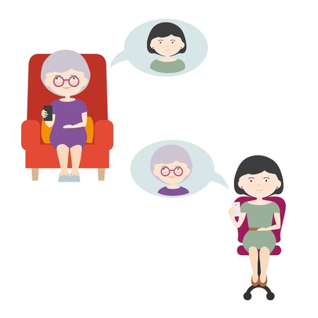 Cartoon illustration of two phoning women with mobile phone in hand. Daughter Calling Mother While Separating - Vector Vectores