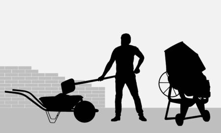 Realistic black and white illustration of a working bricklayer on a construction site. The bucket loads the mortar from the mixer into the truck. Brick wall background - vector