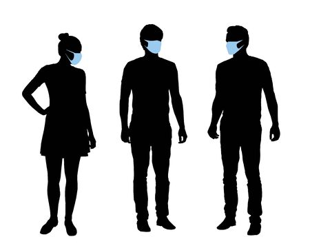 Realistic illustration of silhouettes of people, men and women characters with protective masks against covid infection on the face. Isolated on white background - vector