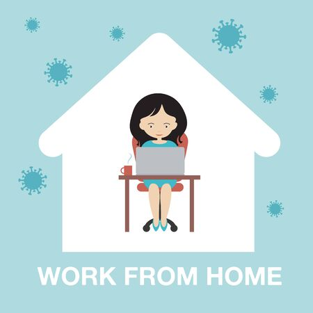 Cartoon illustration of a young woman safe at home. Sitting and working on laptop. Work from home, isolation and quarantine is protected from the pandemic virus Covid - vector