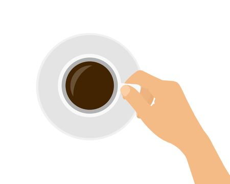 Flat design cartoon illustration of a female or male hand holding a cup of coffee or hot chocolate. Isolated on white background - vector