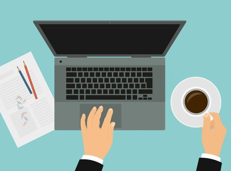 Flat design illustration of a manager's hand holding a cup of coffee and working on a laptop. Paper and pencils on table top - vector top view