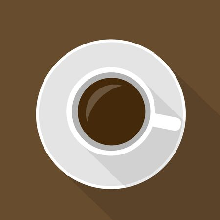 Flat design illustration of a cup of coffee or hot chocolate with a saucer on a brown table. Top view and space for text - vector
