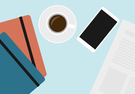 Flat design illustration of office desk with cup of coffee, notebooks and mobile phone - vector Иллюстрация