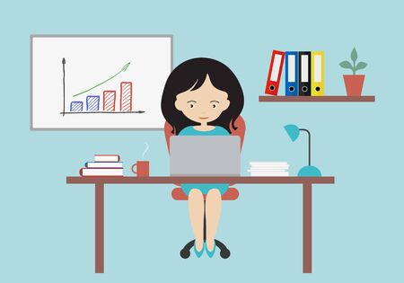 Flat design cartoon illustration of female business executive sitting on chair behind office desk, working on laptop. White board with growing graph on the wall - vector