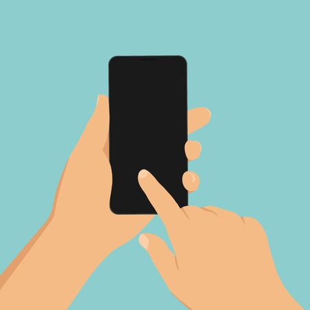 Flat design cartoon illustration of hand holding mobile phone. The index finger clicks on the touch screen - vector