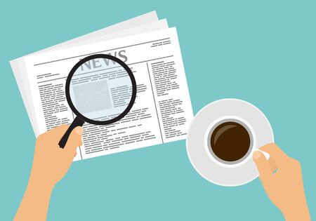 Flat design cartoon illustration of hands with newspaper and cup of coffee. Reads news with a magnifying glass - vector Иллюстрация