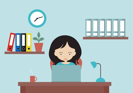 Flat design cartoon illustration of woman working in office on laptop. Work desk, shelves and clock on the wall - vector Иллюстрация