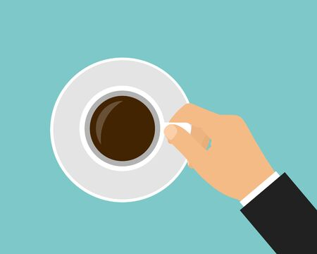 Flat design cartoon illustration of man manager hand holding coffee cup with saucer - vector