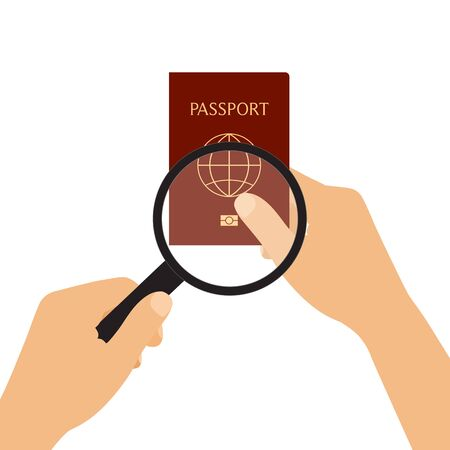 Flat design drawing illustration of hands holding biometric passport and magnifying glass. Tourist identity check - vector