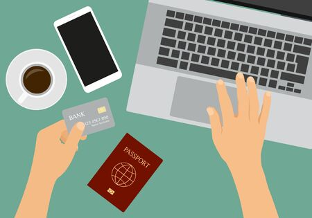 Flat design illustration of hands holding a credit card. Laptop and passport on table with cup of coffee and smartphone - vector