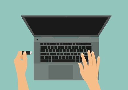 Flat design illustration of gray laptop and hand connecting flash drive to USB - vector