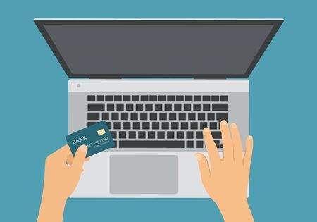 Flat design illustration of laptop and hand holding credit card for online internet shopping - vector