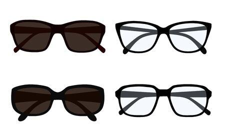 Flat design illustration of set of eyeglasses and sunglasses isolated on white background - vector Иллюстрация