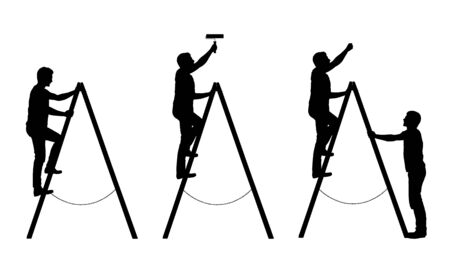 Set of black and white silhouettes of a man craftsman. He paints the wall and holds a ladder - isolated vector on white background