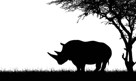 Flat design black and white illustration of a rhino silhouette with two horns under a tree in the grass on Safari - Space for your text - vector