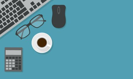 Flat design illustration of office desk board with computer keyboard, calculator and glasses. Cup of coffee with mouse on green-blue background with space for text - vector Иллюстрация