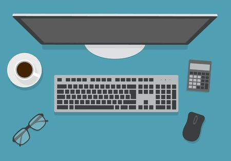 Flat design illustration of wireless computer keyboard on office desk. Monitor with blank screen, mouse and calculator next to a cup of coffee - vector