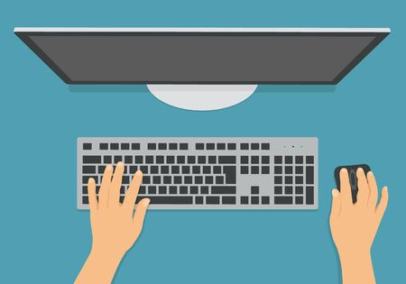 Flat design illustration of computer keyboard, mouse and monitor in office on desk. Hands writing text - vector