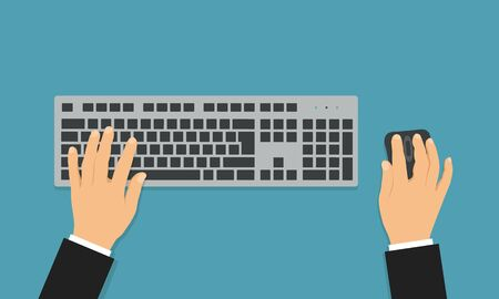 Flat design illustration of office desk with wireless keyboard and mouse. Hands of a manager writing a text - vector