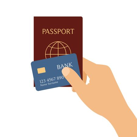 Flat design illustration of hand holding passport and credit card, isolated on white background. Suitable for banner about travel - vector