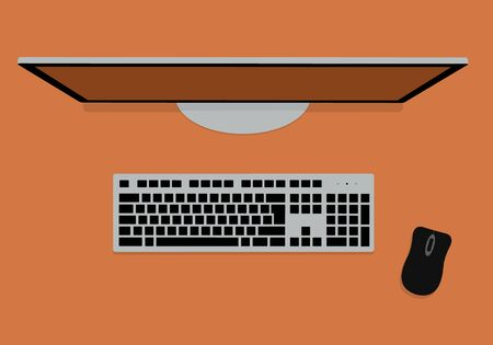 Flat design illustration of keyboard, monitor and computer mouse on orange table top. Suitable for banner about technology - vector 矢量图像