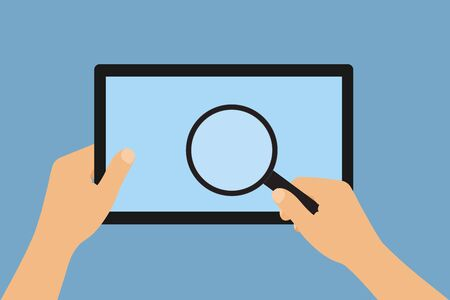 Flat design illustration of hand holding touch screen tablet and magnifying glass. Isolated on blue background - vector