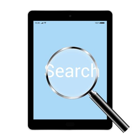 Illustration of a tablet with a blue screen and a magnifying glass examining the text search. Isolated on white background - vector