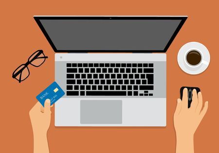 Flat design illustration of office workspace with laptop, hands holding computer mouse and credit card. Cup of coffee and glasses on an orange table. Suitable for banner for online shopping - vector